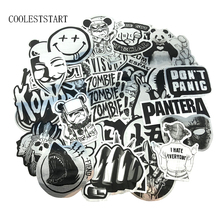 10/50 Pcs/Set Black and White Wire drawing Stickers Imitating Metal Sticke Graffiti Waterproof Stickers For Laptop Luggage