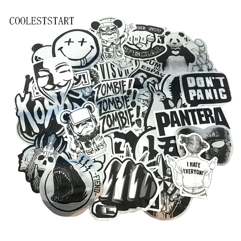 50 Pcs/Set Black And White Wire-drawing Stickers Imitating Metal Sticke Graffiti Waterproof Stickers For Laptop Luggage Sticker