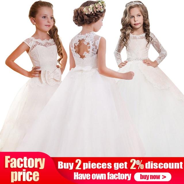 2019 כדור שמלת עבור ילדה פרח ילדה שמלות vestido comunion תחרות שמלות לנערות ראשון הקודש ערב שמלות רכות