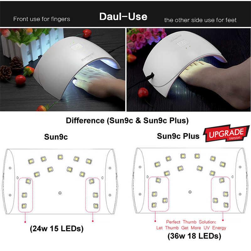 SUNUV SUN9c Plus 36W UV Light secador de uñas led UVLED Gel lámpara arqueada en forma de lámparas para el arte de uñas perfecta solución de secado de pulgar