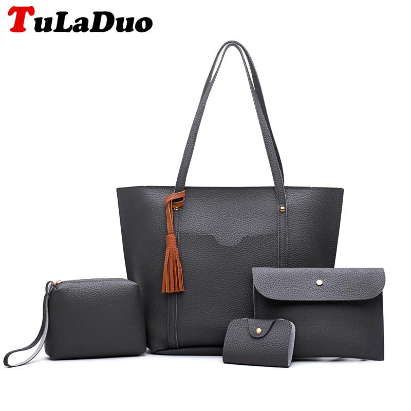 Solid Soft Female Shoulder Bag Fashion Tassel Lady Handbags Woman Casual Tote Bag Big Large Capacity Composite Bag Sac Femme