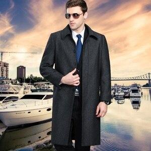 Image 4 - Mu Yuan Yang Men Winter Jacket Wool British Style Longer Section Woolen Men Jackets Outerwear Warm Single Breasted Wool & Blends