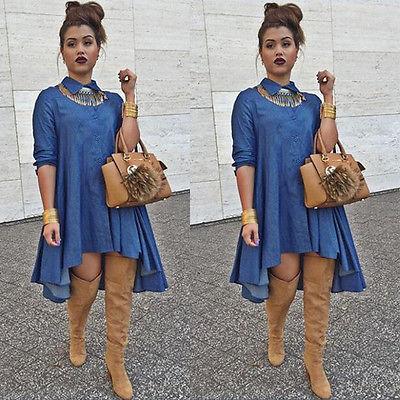3a64ba93d59 Vintage Sexy Women Loose Long Sleeve Denim Shirt Dress Casual Jeans Mini  Dress-in Dresses from Women s Clothing on Aliexpress.com