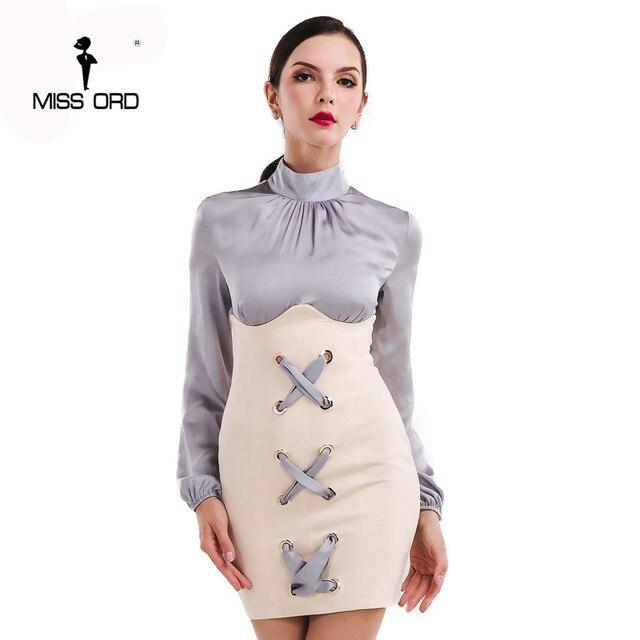Missord 2017 sexy de manga larga de cuello alto ojal dress ft4738