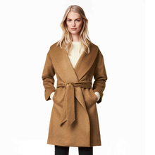 Fashion Autumn Winter 2017  Pockets OL Lace-up Accept Waist Woolen Cloth Trench Coat Plus Size Windbreaker solid color silm long