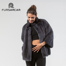 FURSARCAR 2018 New Style Natural Real Mink Fur Women With Stand Collar High Street Regular Long Genuine Female Coat