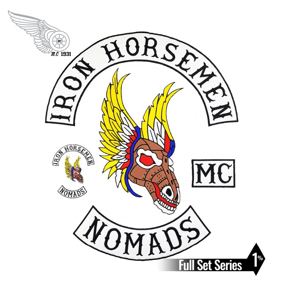 IRON HORSEMEN SETS Motorcycle Biker Embroidered On Patch Full Back Size for JACKET VEST Sew On MC DIY Apparel Sewing 7pcs/Set