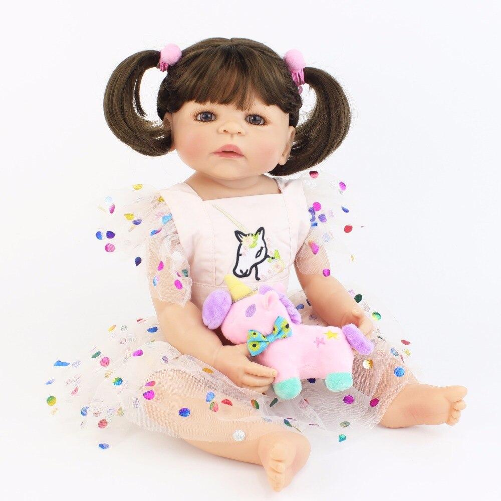 55cm Full Silicone Body Reborn Baby Doll Toy Like Real Vinyl Newborn Princess Toddler Unicorn Babies Girl Boneca Kids Bathe Toy