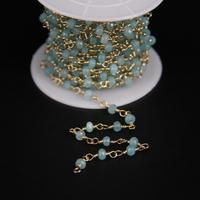 2x4mm,Blue Malaysia Jades Light Gold Rosary Chain,Aquamarine Color Faceted Rondelle Gems Chain,DIY Fashion Crafts Necklace