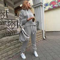 Frauen Casual Sets Neue Mode Mit Kapuze Tops Sweatshirt + Feste Lange Hosen Sets Frauen Kleidung Anzüge Weibliche Trainingsanzug 2 stücke sets