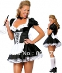 Free shipping French Maid Ladies Fancy Dress Party Hens Night Xmas Costume cosplay without fur brush size S,M,L,XL,2XL,3XL,4XL