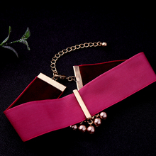 Velvet Choker with Crystal Pendant