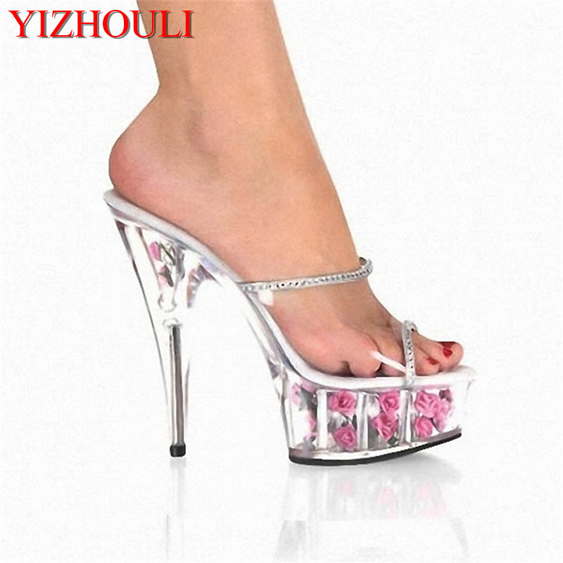 6 Inch Flower Crystal Shoes Romantic Rose Bride Wedding Shoes 15cm Ultra High Heels Platform Full Transparent Crystal Slippers professional customize 15cm ultra high heels sandals platform bride 6 inch wedding shoe women s slippers sexy lips crystal shoes