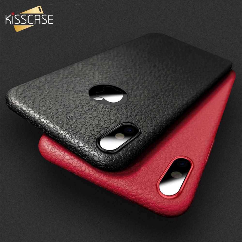KISSCASE Ultra Thin Leather Skin Soft TPU Phone Case For iPhone XR X Shell 5