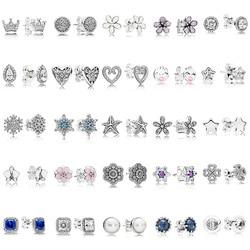25 стилей, женские 925 пробы серебряные серьги-гвоздики, круглый цветок, сердце, синий кристалл, серьги-гвоздики для женщин, ювелирное изделие