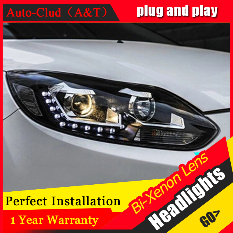 Auto Clud LED headlights For ford focus 2012 2014 Bifocal lens H7 xenon head lamps For Ford Focus LED lights DRL car styling