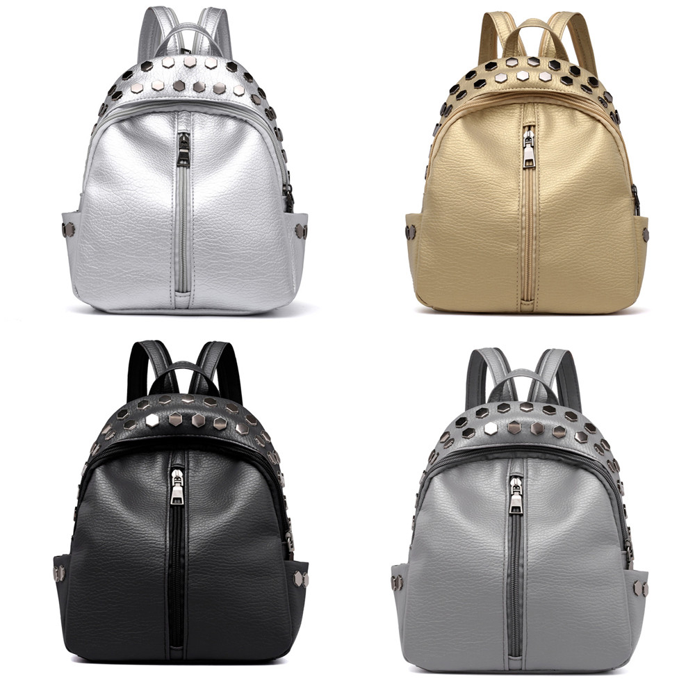 anti-theft Vintage Women's Rivets Leather Backpack Satchel Travel School Rucksack Bag  School Backpack For Teenage Dropship