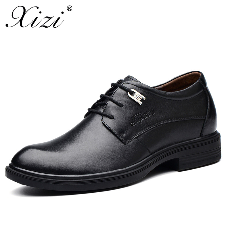 XIZI Brand 2018 Business Dress Men Formal Shoes Wedding Pointed Toe Fashion 100% Genuine Leather Shoe Flats Oxford Shoes For Men new brand designer formal men dress shoes lace up business party oxfords shoes for men pointed toe brogues men s flats plus size