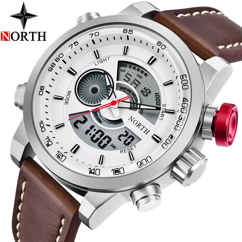 NORTH Watch Men Luxury Brand Waterproof Military Watches Men Leather Casual Quartz Watch Analog Digital Watch Relogio Masculino