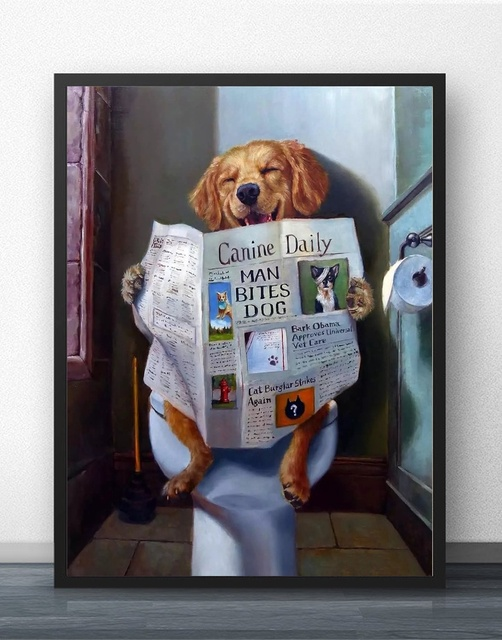 The Bathroom Art Funny Toilet Poster Wall Art Decor Canvas Prints Canvas Art Poster Oil Paintings for Children Room No Frame