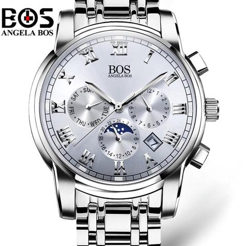 Relogio Masculino ANGELA BOS Waterproof Week Month Date Watch Men Fashion Luminous 12/24 Hours Quartz Wrist Watch Clock Saat Islamabad