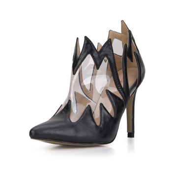 CHMILE CHAU Black Sexy Party Shoes Women Pointed Toe Stiletto High Heels Fashion Fine Ladies Ankle Boots Zapatos Mujer 70887-4b
