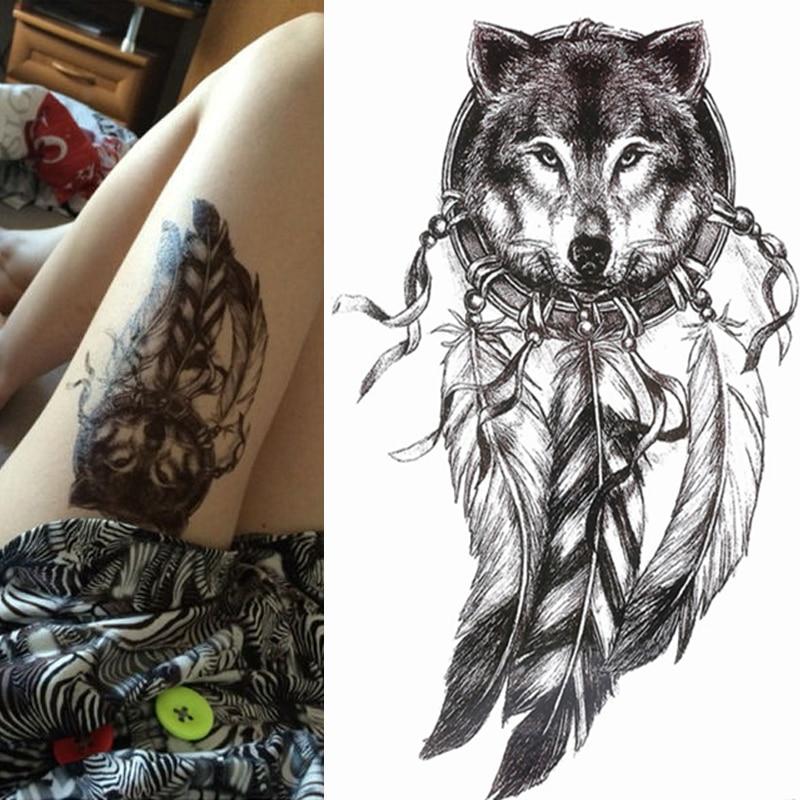 1pc venda quente lobo preto com pena dreamcatcher coruja gato legal beleza braço grande tatoo adesivos de tatuagem temporária à prova d21 água 21*15cm