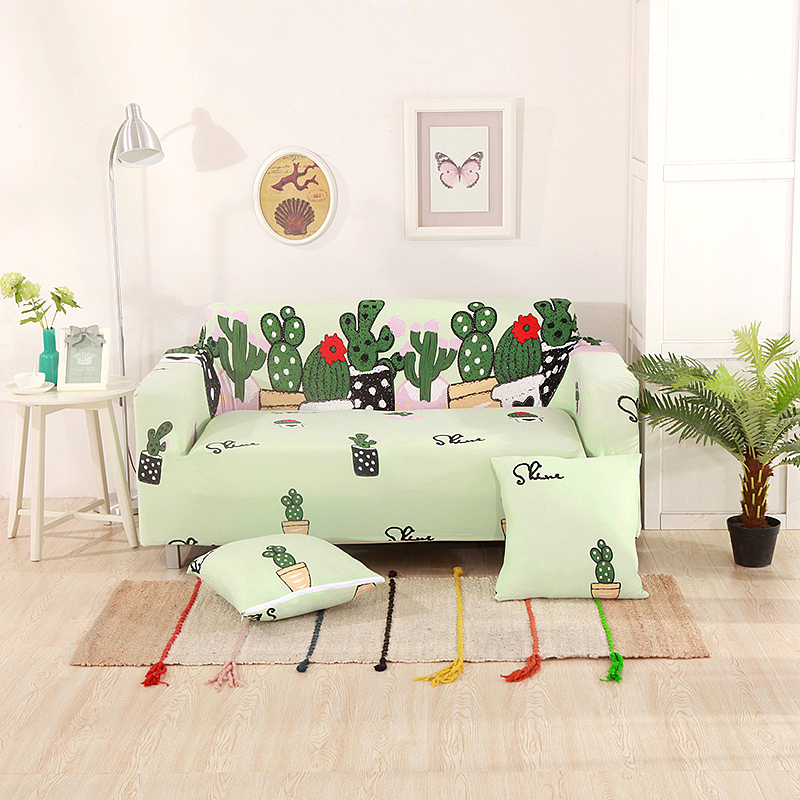 Green cactus printed sofa covers universal stretch - What size couch for my living room ...