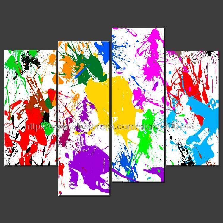 Big Canvas Art Modern Watercolor Abstract Ink Splash Big: Paint Splatter Abstract Cascade Poster Modern Many Sizes