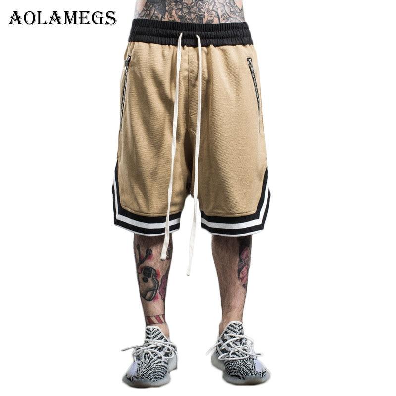 29566fd9da Aolamegs Men's Shorts Tide Brand European American Men Zipper Loose Shorts  Knee Length Homme Casual Sweatpants