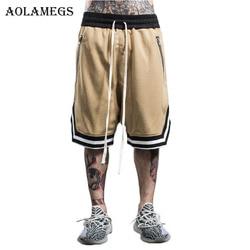 Aolamegs الرجال السراويل المد العلامة التجارية الأوروبية الأمريكية الرجال سستة فضفاض السراويل الركبة طول أوم عارضة Sweatpants برمودا الغمد