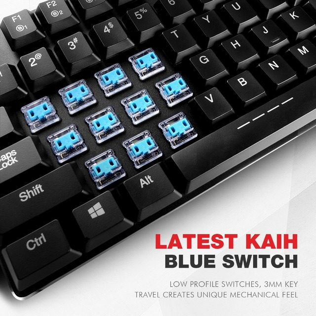HAVIT Mechanical Keyboard 87 Keys Ultra Low Axis Metal Keyboard Wired USB Mini Gaming Keyboard Blue Switches for PC HV-KB390L 5