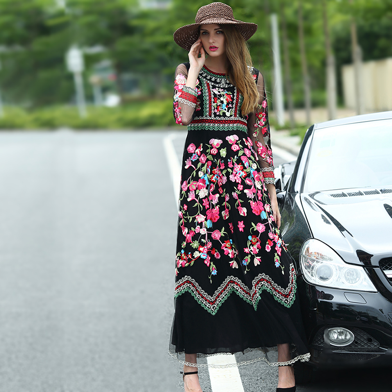 Women Luxury flower embroidery Vintage party dress slim long O neck casual beach ethnic mesh boho maxi dresses vestido 8244 embroidered casual loose knitted dress flower long sleeved dress o neck line plain dresses fall casual dresses