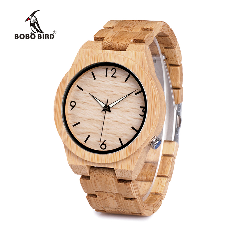 BOBO BIRD Natural Bamboo Luxury Wood Strap Men's Watches With Wooden Watch Box relogio masculino Accept Drop Shipping D27