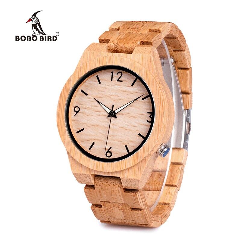 Pássaro de Bambu Pulseira de Madeira Masculinos com Caixa de Relógio de Madeira Transporte da Gota Bobo Natural Luxo Relógios Relógio Masculino Aceitar D27