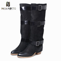 Prova Perfetto Women Knee High Boots Black Suede Female Chunky High Heel Boots Straps Autumn Winter