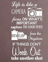 Camera Vinyl Wall Decal LIFE IS LIKE A CAMERA Quote Lettering Words Mural Art Wall Sticker Cinema Film Bedroom Home Decoration