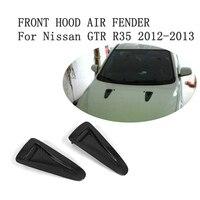 Carbon Fiber передний капот воздуха Fender Vent Совок наклейки планки для Nissan GTR R35 2012 2013 автомобильные аксессуары