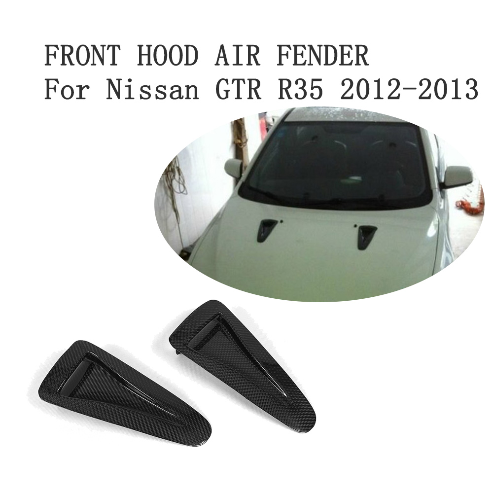 Carbon Fiber Front Hood Air Fender Vent Scoop Stickers Trims For Nissan GTR R35 2012-2013 Car Accessories car styling carbon fiber side fender covers trim for nissan gtr base coupe 2008 2016