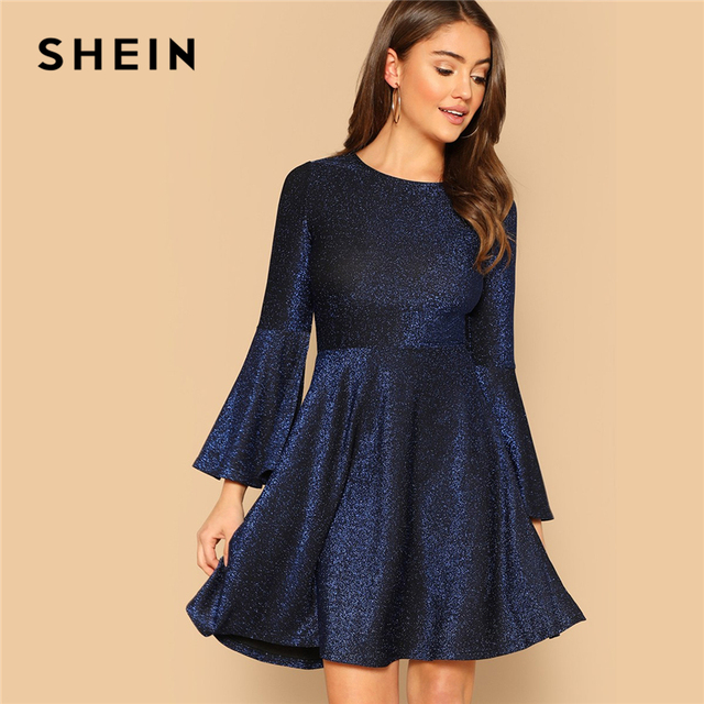 SHEIN Navy Elegant Trumpet Sleeve Fit and Flare Glitter Party Dress Women  2019 Spring Plain Highstreet 5e78aff20f34
