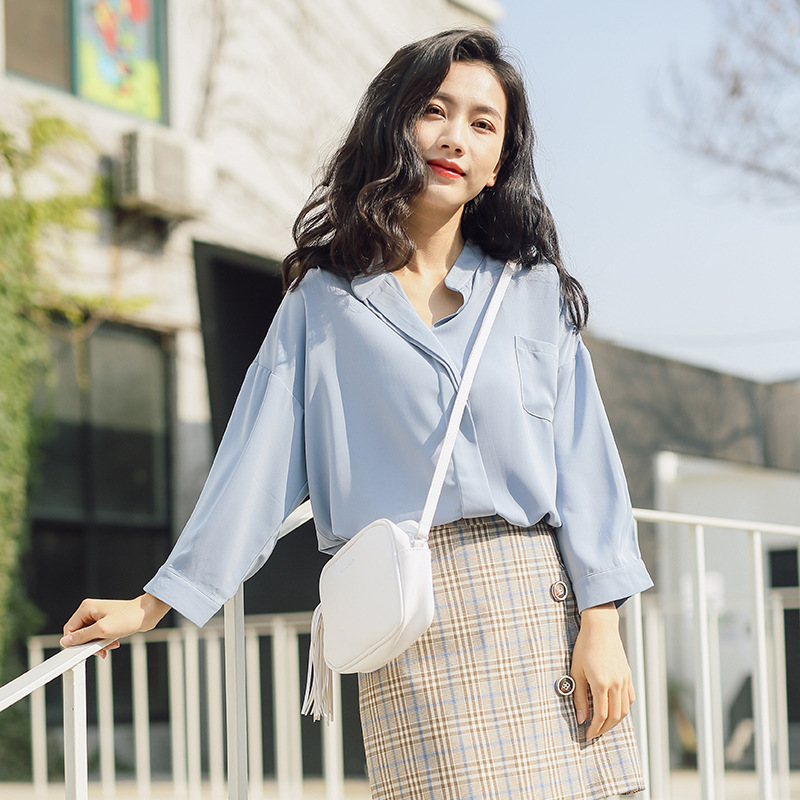 b5bfe8f45 women spring solid color loose leisure v neck blouse pocket decor chiffon  pullover female bule white 3 4 sleeve basic shirt tops