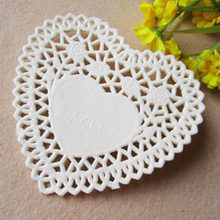 New 100pcs/set 4 Inches Lace Paper White Heart shaped Lace Paper Doilies Out Pad for Home Paper Crafts Decoration 10.3x9.7cm(China)