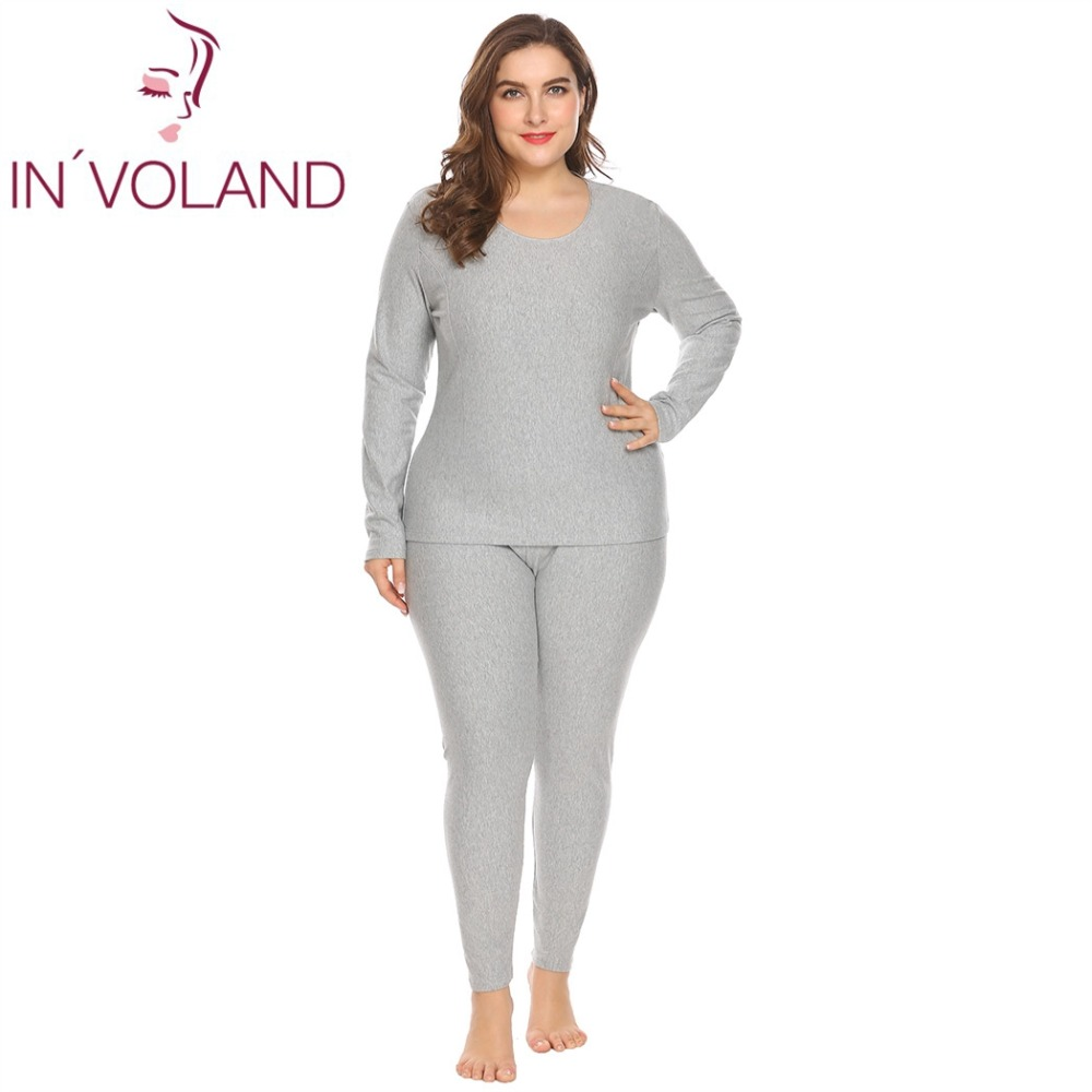 IN VOLAND Women Pajama Sets Plus Size XL-5XL Spring Autumn Thermal  Underwear Set Top Bottom Fleece Lined Sleepwear Oversized 774b74f7f