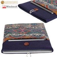 For Macbook Air 13 Case National Retro Handmade Cotton Linen Fabric Laptop Sleeve Bag For Macbook