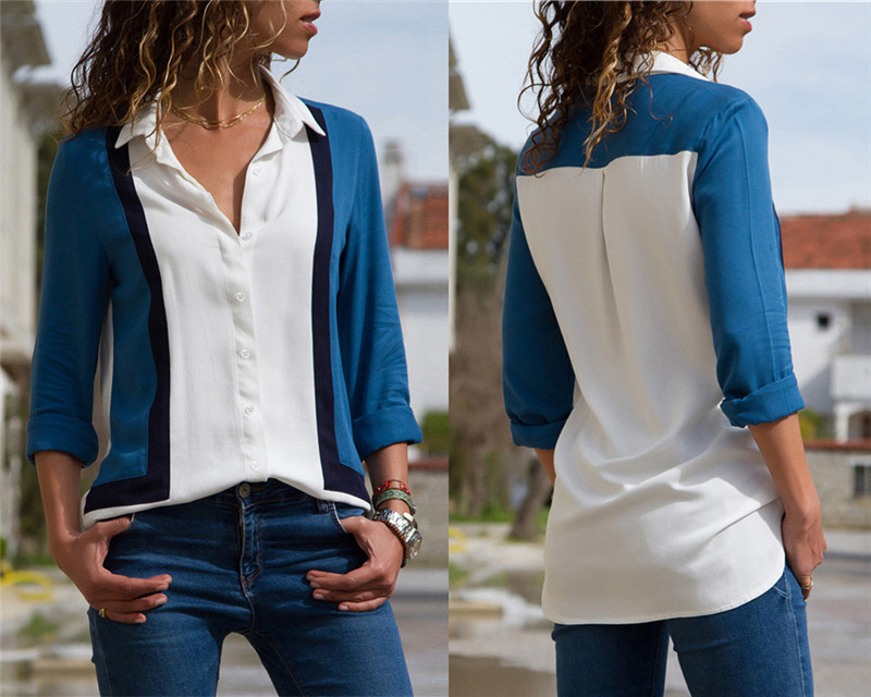 Women Blouses Fashion Long Sleeve Turn Down Collar Office Shirt Leisure Blouse Shirt Casual Tops 45