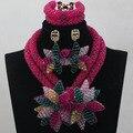 2016 люкс женщины свадебные ювелирные изделия указан цветы нигерии африки костюм невесты ожерелье браслет для невест ALJ744
