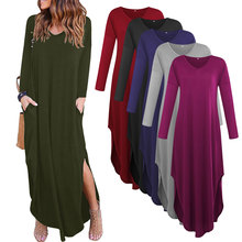 mamaan style solid split new dresses spring autumn v-neck ankle length long sleeve casual loose female