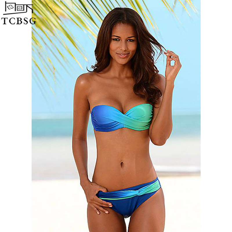 TCBSG 2019 New Sexy Push Up Swimwear Women Swimsuit Bandeau Gradient Color Brazilian Bikini Set Beachwear Bathing Suits