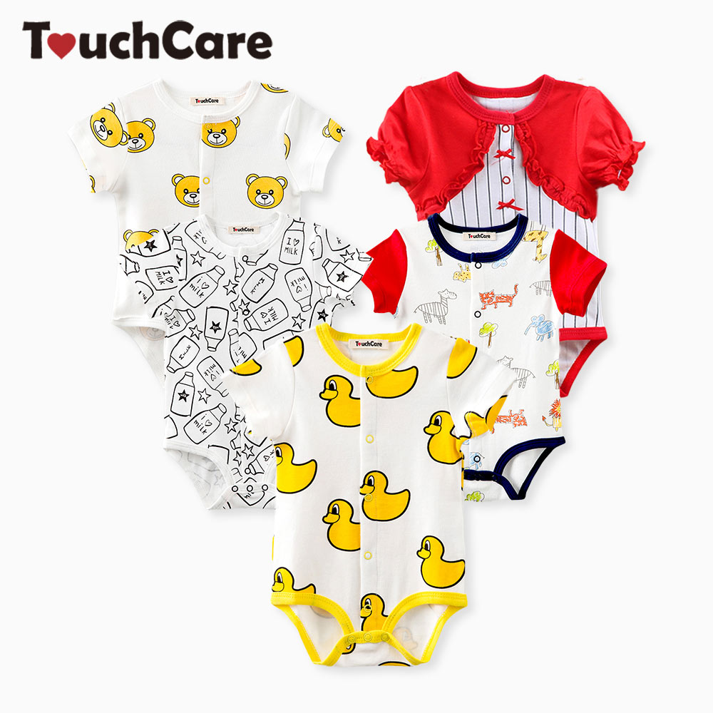 Clearance Touchcare Little Yellow Duck Baby Clothes Newborn Baby Boy Girl Rompers Milk Bottle Pattern Summer Infant Jumpsuit