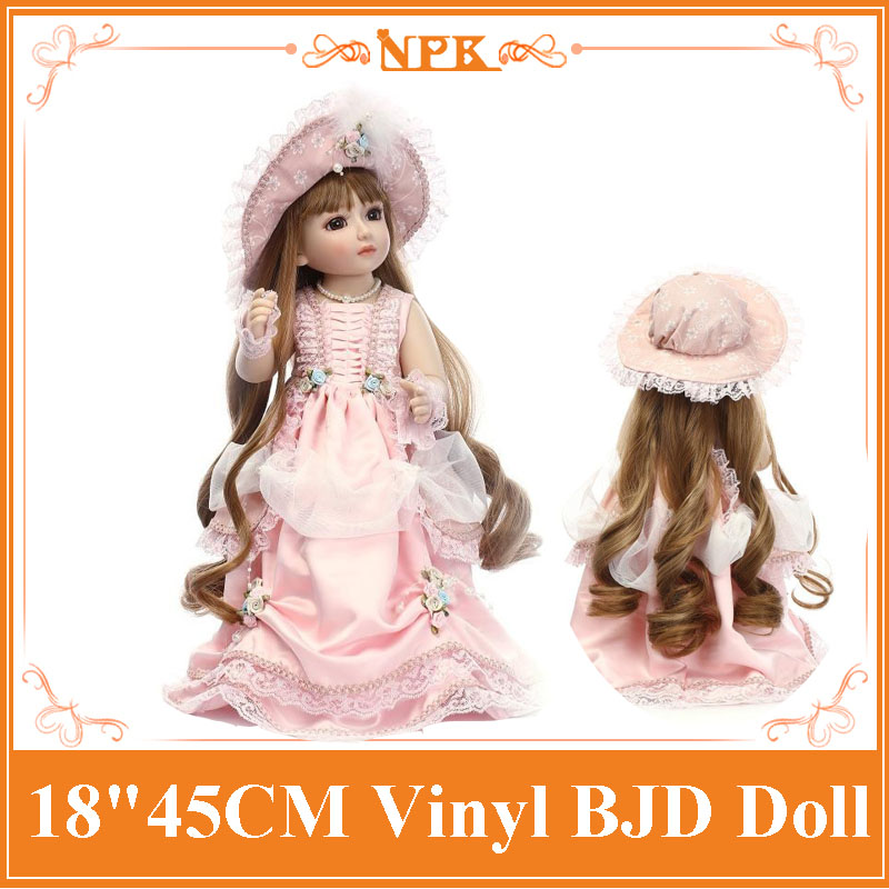 New Arrival 18inch 45cm Full Silicone Vinyl Reborn SD/BJD Sweet Girl Doll Lifelike  Doll Baby Kids Best Toys Children Bebe Gift sd bjd plastic lifelike princess girl doll dressing exercise doll for kids high end christmas new year gift boutique collection